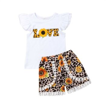 1-6Y Summer Kids Baby Girl Love Print T-shirt Tops Sunflower Tassel Shorts 2PCS Outfits Girls Clothing Set