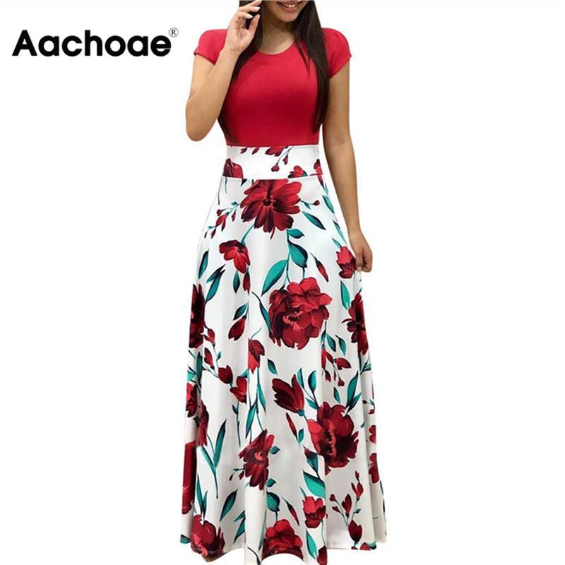 Floral Print Summer Boho Dress Women Casual Short Sleeve Patchwork Dress Ladies Elegant Party Dress Long Maxi Dresses Vestidos