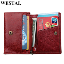 WESTAL womens small wallet genuine leather ladies purse slim/thin wallet card holder for girl coin purse for women money bag 17