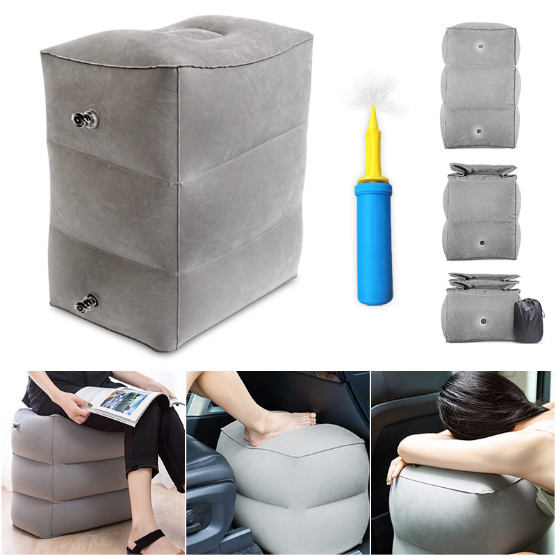 Flight Sleeping Footrest Pillow PVC Leg Resting Inflatable Travel Foot Rest Pillow Portable Plane Train Kids Bed Foot Rest Pad