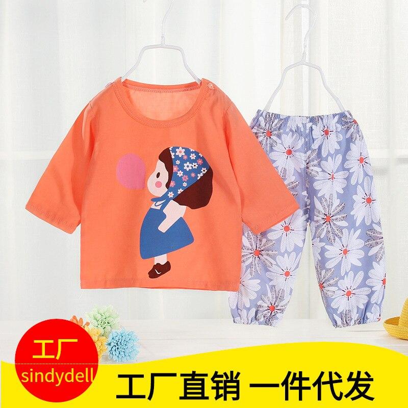 Summer Children Bourette Pajamas Suit Newborn Infants BOY'S Service Air Conditioner Girls' Short Sleeve Shirt Thin Home Wear
