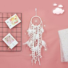 Hot Sale Handmade Lace Dream Catcher Wind Chimes with Indian Style Car Wall Hanging White Feather Dreamcatcher Home Decoration(China)