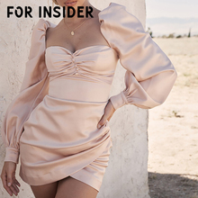 For Insider Elegant satin pink bodycon dress vestidos Sexy puff sleeve short party dress Autumn winter wrap women dress mini embroidered puff sleeve bodycon mini dress