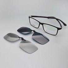 Glasses Frame Men Full with Magnet Clips Myopia 3d Film Polarized Sunglasses Set Mirror Prescription Eyeglasses