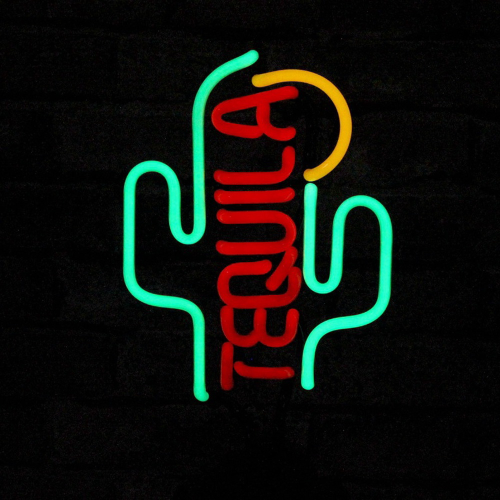 Wholesale Customization Greem Cactus Glass Neon Tube Logo Signs For Tabletop Neon Signs Vintage Real Neon Signs With Lights