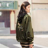 INMAN Winter Pure Color Contracted Base Collar Dropped Shoulder Sleeve Zipper Lady's Jacket Coat