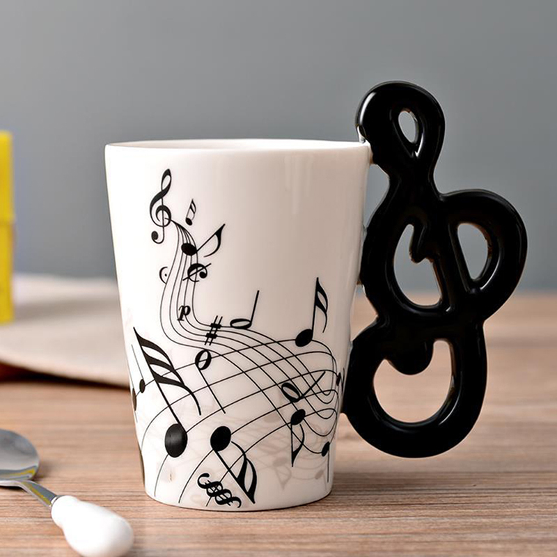 New Music Mug With Guitar Shaped Handle Creative Ceramic Mugs Valentine's Day Romantic Gifts For Girlfriend image