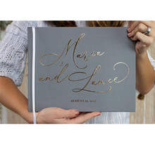 Foil gold monogram Wedding Guestbook Ideas Book personalised name grey engagement memory book guest book bridal party photo book