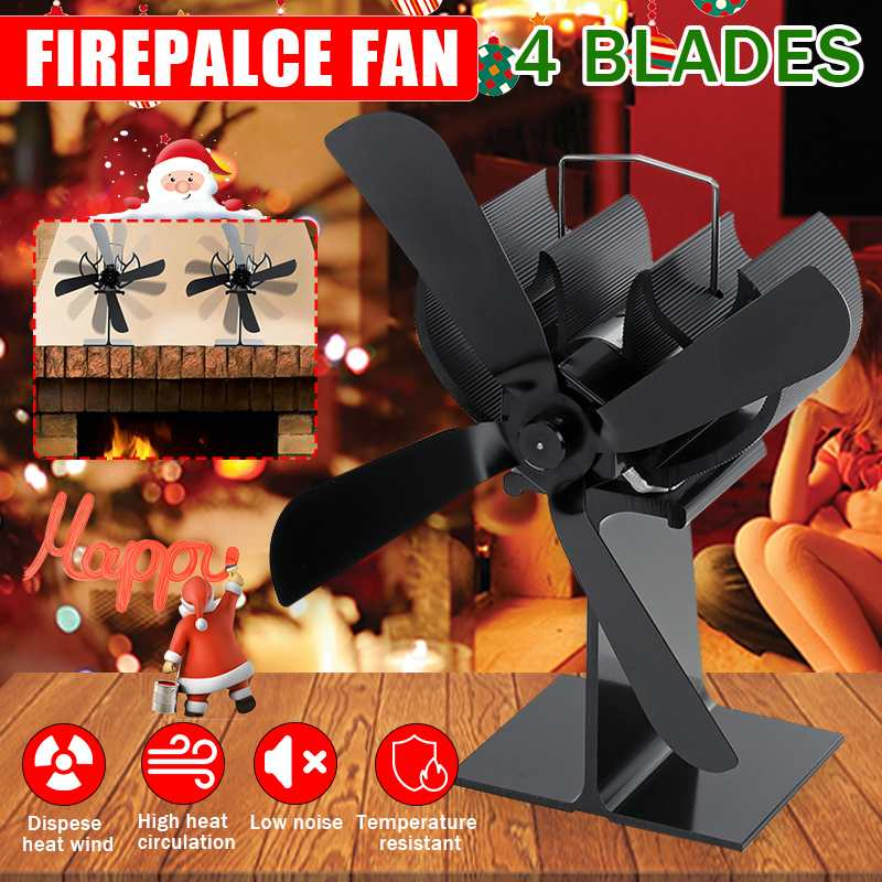 Black Stove Fan Saving Mute 4 Blades Fireplace Fan Heat Powered Wood Burner Quiet Home Efficient Heat Distribution