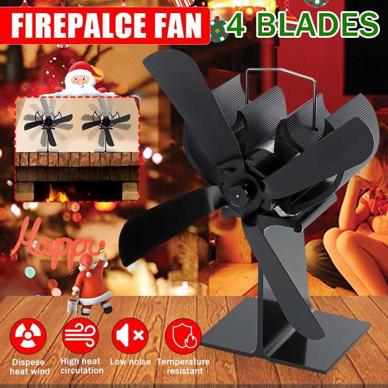 Black Stove Fan Saving Mute 4 Blades Fireplace Fan Heat Powered Wood Burner Quiet Home Efficient Heat Distribution