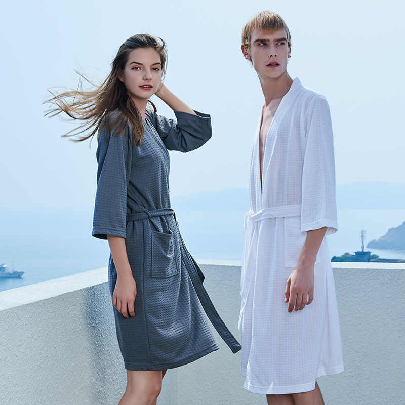 2020 חדש Sunmer סתיו נשי מוצק חלוק כותנה גלימת לנשים קימונו מזדמן קשת כתונת לילה שמלה לבן גברים הלבשת