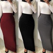 Pencil-Skirt Abaya Muslim-Dress Islamic-Clothing Arab Long Stretch High-Waist Cotton