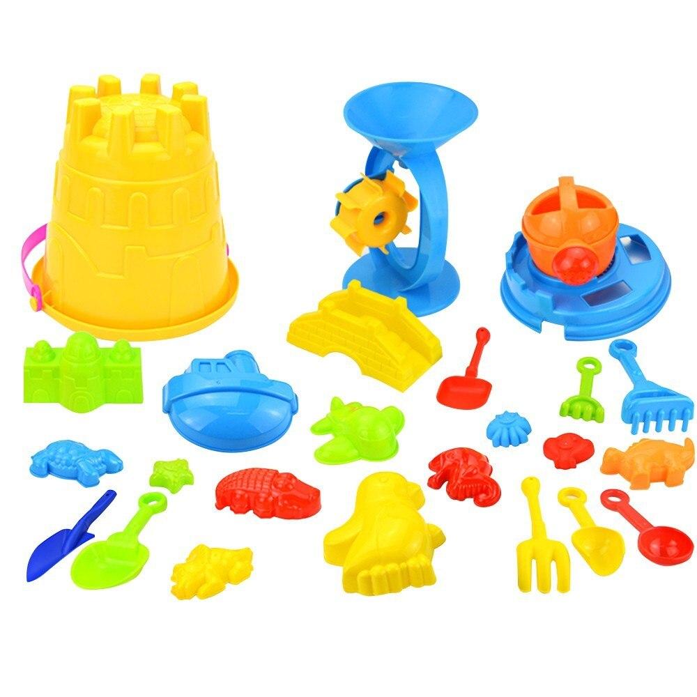 25 шт., Набор детских пляжных игрушек для песка, воды, колеса, ведро, лопатки, грабли, лейка, формы, пляжный набор инструментов, песочница