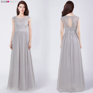 Elegant Grey Bridesmaid Dresses Ever Pretty EZ07549GY A-Line Ruched V-Neck Sleeveless Draped Formal Dresses For Wedding Party