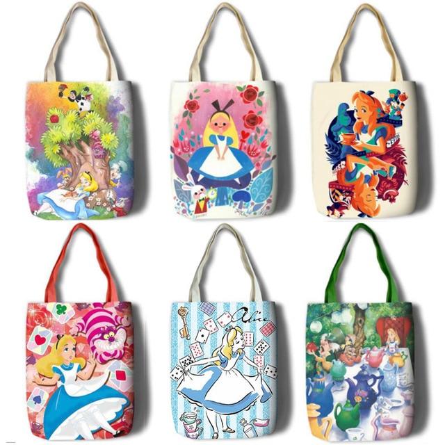 جديد أليس بنات نساء قماش حقائب كتف حقيبة يد كبيرة لطيف الكرتون مدرسة كتاب حقيبة تسوق