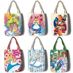 Image 1 - New Alice Girls Women Canvas Shoulder Bags Large Handbag Cute Cartoon School Book Shopping Bag