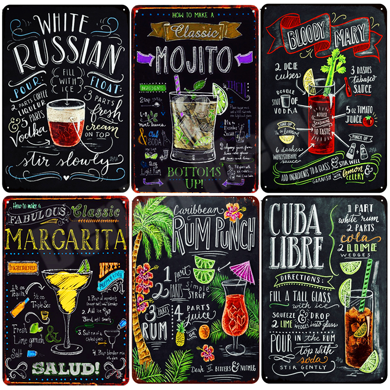 Tiki Bar OPEN Summer BEER Retro Metal Tin Signs Mojito Martini CUBA LIBRE Cocktail Plaque Pub Bar Art Stickers Wall Decor N082 image