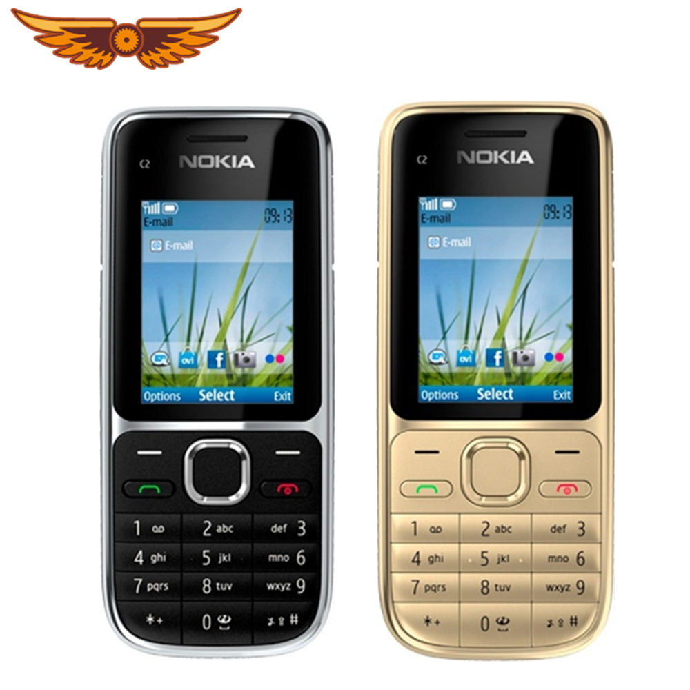 Nokia C2-01 1020mah Refurbished Cellphone Keyboard Hebrew Unlocked 3G Original Russian title=