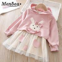 2020 novo estilo primavera crianças malha vestido coelhos padrão princesa vestidos com capuz meninas roupas de outono