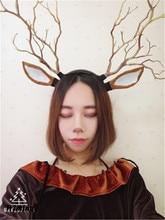 Deer Ears with horn Reindeer headband Halloween Costume lovely Antler Headband Christmas Accesssory