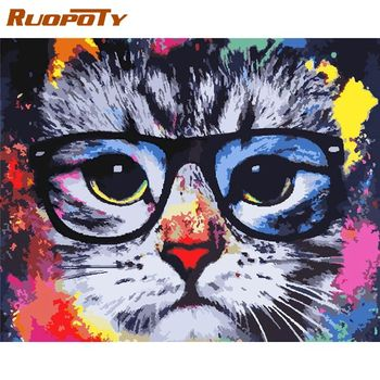 RUOPOTY 60x75cm Painting By Numbers Cat Frame DIY Paint By Numbers On Canvas Animals Digital Painting Handpaint Christmas Gift