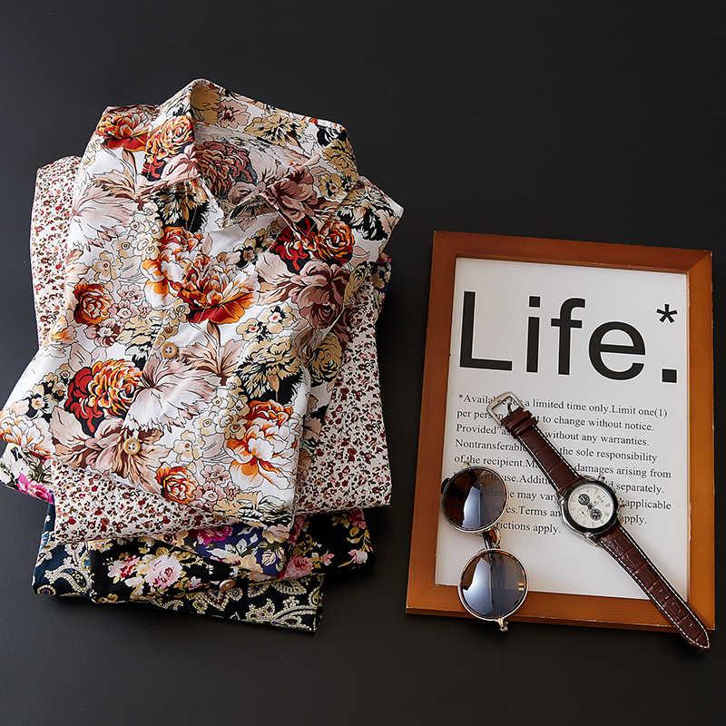 2020 남성 슬림 피트 플라워 프린트 셔츠 남성 긴 소매 꽃 셔츠 남성 탑 캐주얼 플러스 사이즈 캐주얼 홀리데이 셔츠