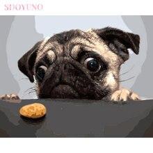 Sdoyuno diy рамка для рисования по номерам дети мопс собака