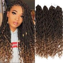 Boêmio faux locs crochê extensões de cabelo encaracolado crochê trança cabelo deusa cabelo sintético ombre doris beleza