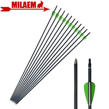 "6/12pcs 31.5"" Archery Pure Carbon Arrow Spine 600 ID4.2mm 2inch Rubber Feather Compound Recurve Hunting Shooting Accessories"