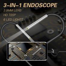 3 في 1 3.9 مللي متر المنظار عدسة صغيرة صغيرة أندرويد المنظار مايكرو مرنة نوع C مقاوم للماء التفتيش ل أندرويد PC Borescope جديد
