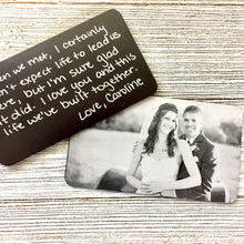Engraved HANDWRITING Picture Wallet Card - Photo Insert -Groom gift, Husband Anniversary gift for Boyfriend