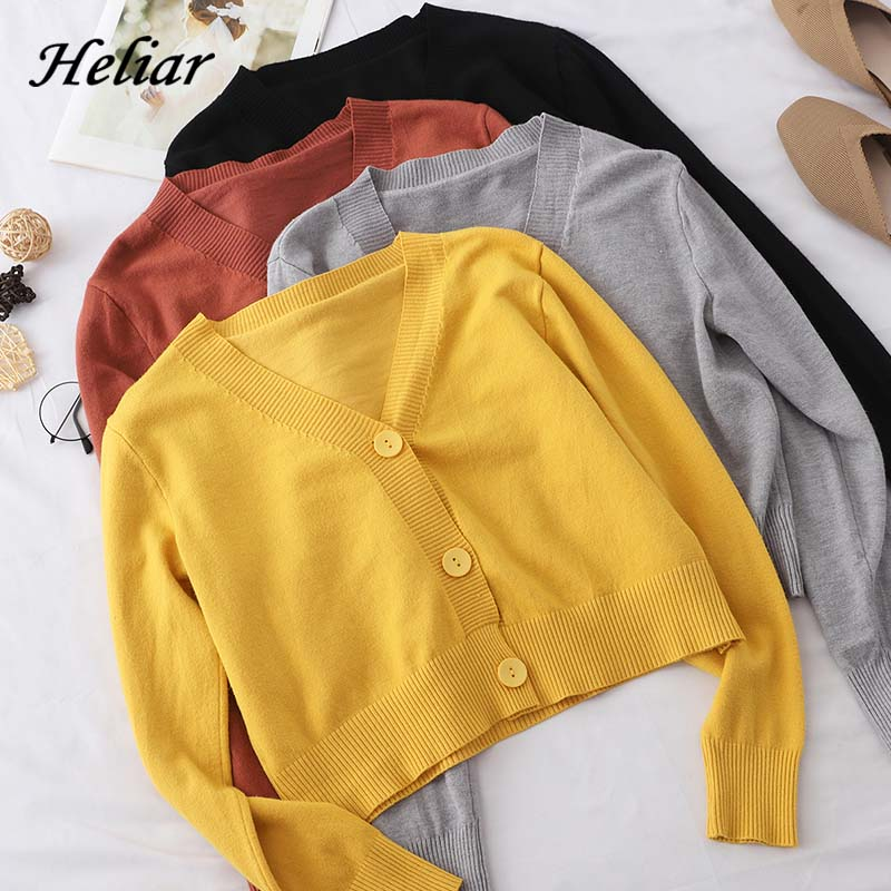 Heliar Women V-Neck Cardigans Solid Loose Knitting Korean Style Sweater Preppy Campus Crochet Elegant Sweater Women Cardigans