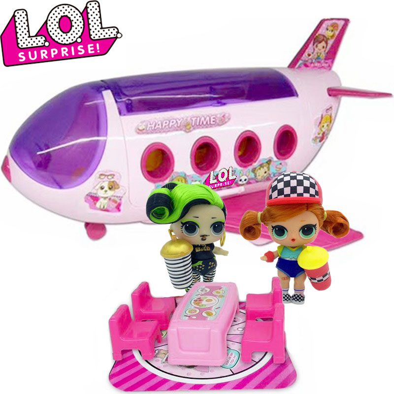 Original  LOL Dolls Surprise Toys Set Deluxe Airplane Action Figures Model Accessories Bus Toys For Girl Children Christmas Gift