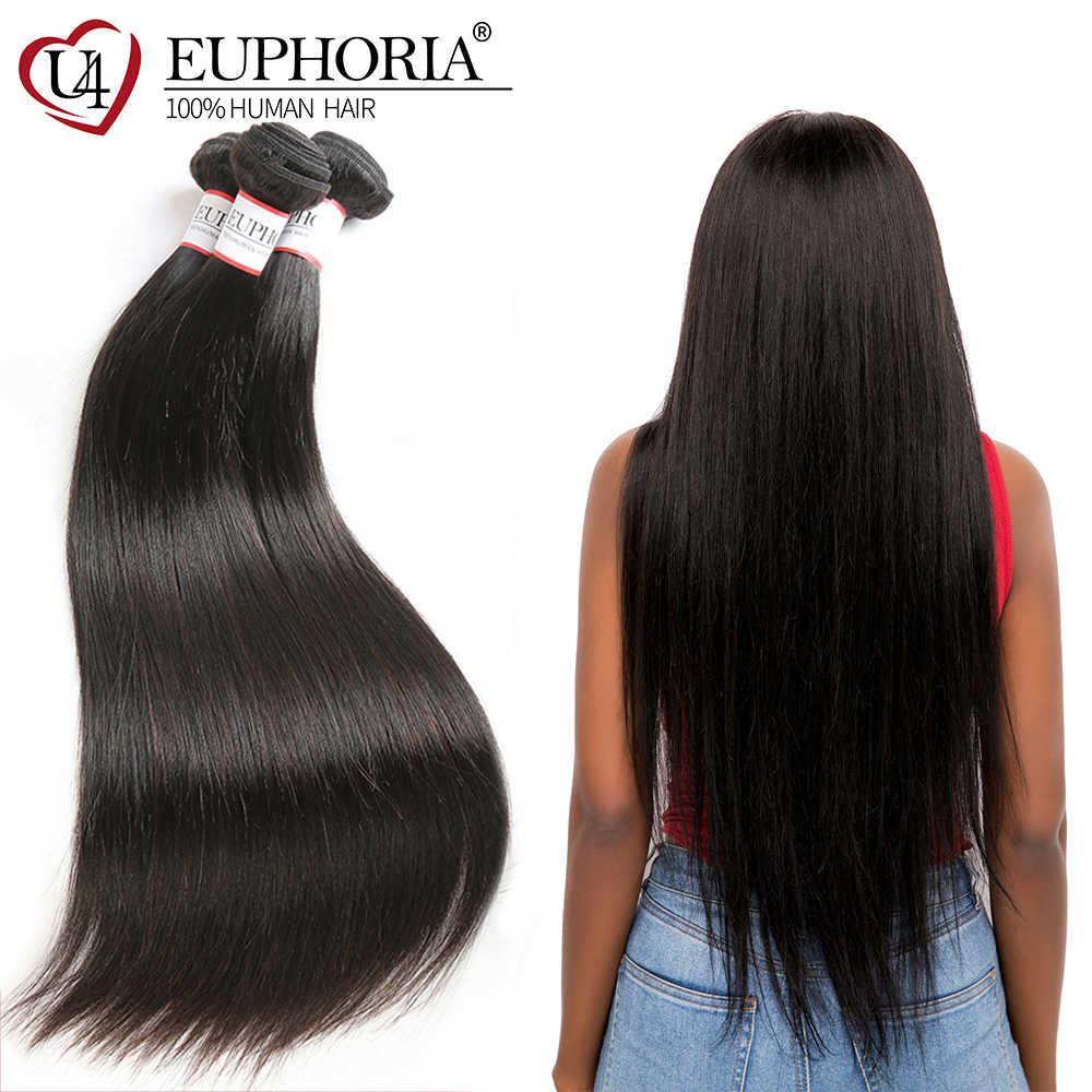 Paquetes de tejido de cabello humano recto peruano euforia Color Natural 100% cabello humano Remy tejido de 8-28 pulgadas para salón de 1 pieza