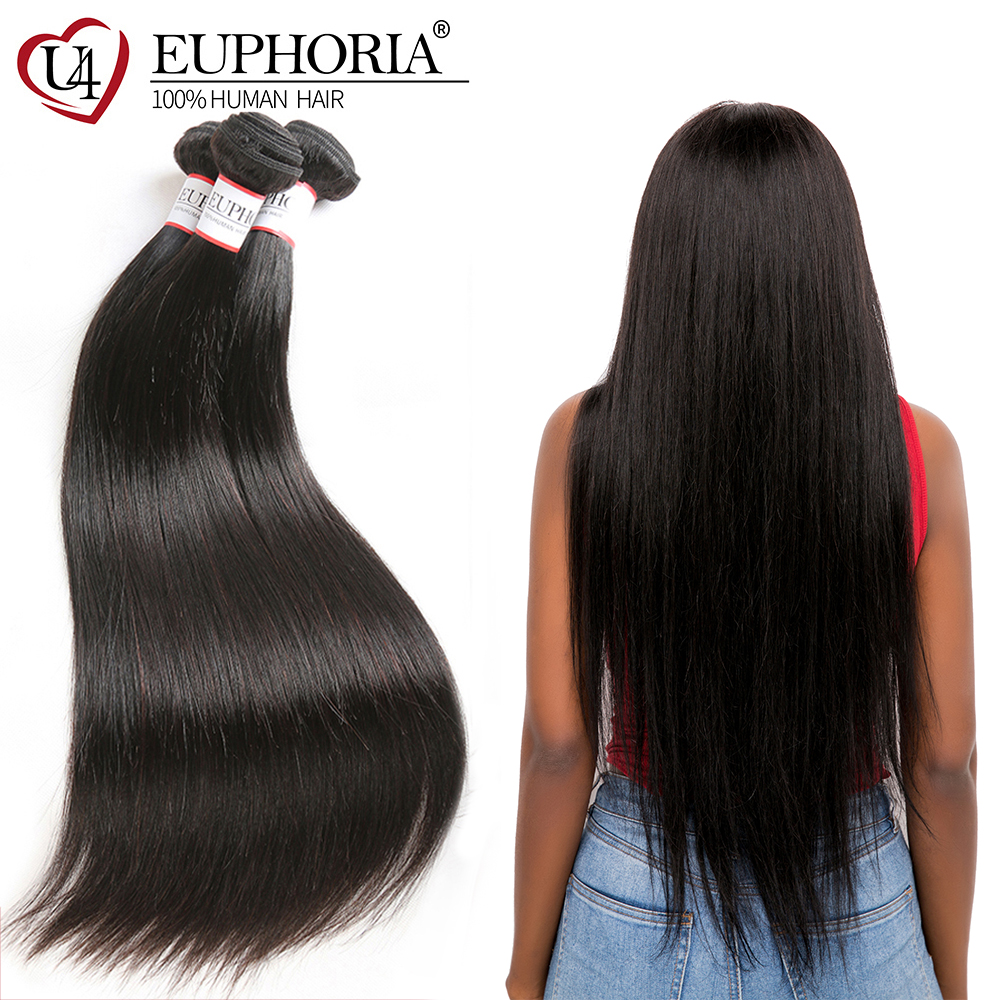 Peruvian Straight Human Hair Weave Bundles Euphoria Natural Color 100% Remy Human Bundle Hair Weaving 8-28inch For Salon 1 Piece