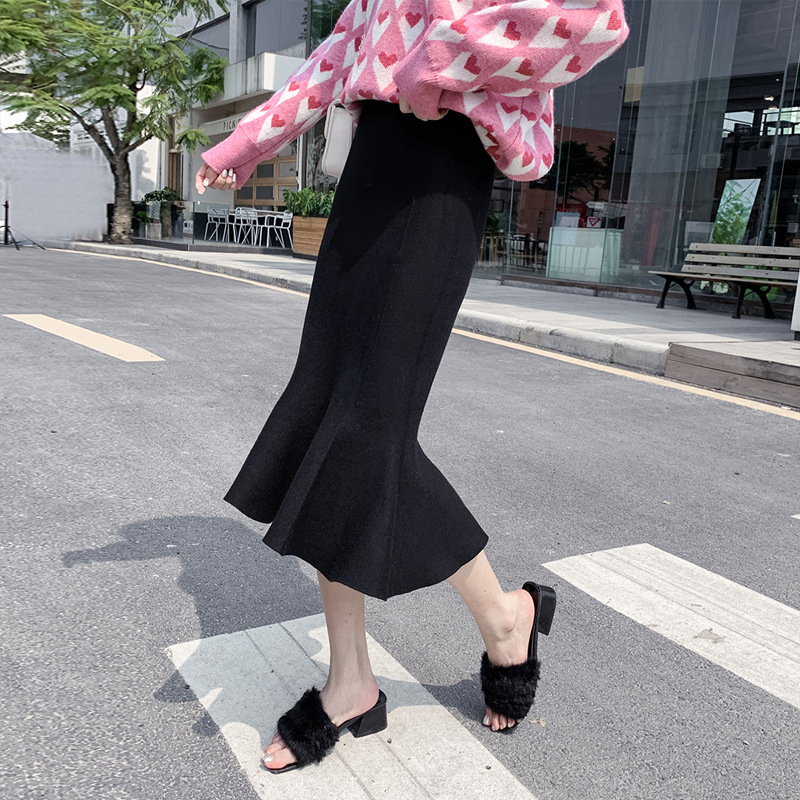 Women's Autumn And Winter New Style Korean-style High-waisted Solid Color Fishtail Sheath Knitted Dress Mid-length Skirt Skirt W