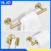 цена на Towel Bar Set Gold Stainless Steel Towel Rack Hanging Holder Robe Hook Bathroom Hook for Towels Wall Mounted Toilet Paper Holder