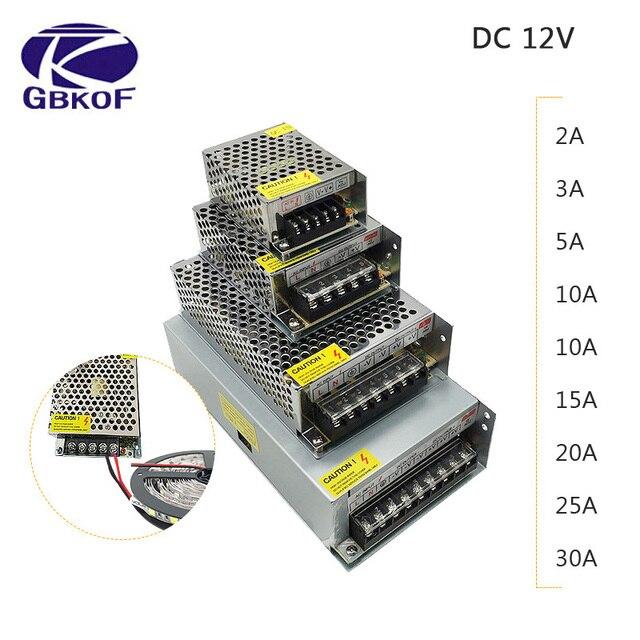 DC 12V LED strip driver Power Adapter 1A 2A 3A 5A 10A 15A 20A Switch Power Supply AC110V 220V 24V Transformer Power 60W 78W 120W
