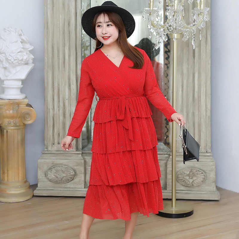 אישה שמלה 2020 אביב קיץ נצנצים בתוספת גודל שמלה אלגנטי Midi קוריאני ארוך שרוול המפלגה שמלות Vestido חוף KJ2094