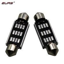 EURS 10PCS Festoon 31mm 36mm 39mm 41mm LED Bulb Light 4014 12SMD Canbus No Error Auto Interior Doom Lamp blue red green 12V 24V