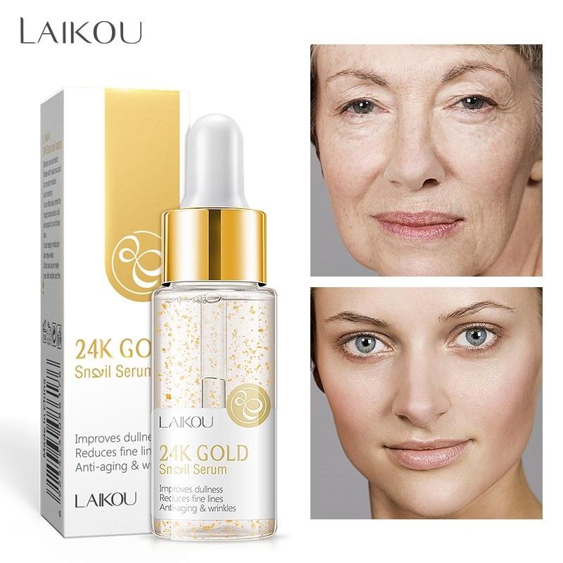 24K Gold Snail Essential Liquid Moisturizing Firming Skin Lighten Fine Lines Anti-Aging Serum Facial