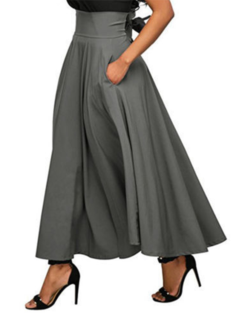 Spring summer women long skirt vintage cotton A line high waist maxi skirt women fashion korean belt Female Falda Clothes DR1470 (6)