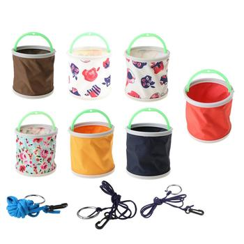 Fishing Bucket Canvas Round Folding Outdoor Portable 14cm Storage Camping Hiking