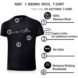 Image 5 - 2019 גברים צמר מרינו T חולצה 100% צמר מרינו איש ספורט חולצה גודל S XL רך לחות הפתילה ריח התנגדות 150G הנחה