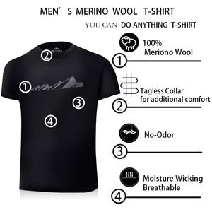 Image 5 - Мужская футболка из 2019 мериносовой шерсти, мягкая легкая Влагоотводящая и устойчивая к запаху Спортивная футболка из 100% шерсти, размеры S XL, г/м2