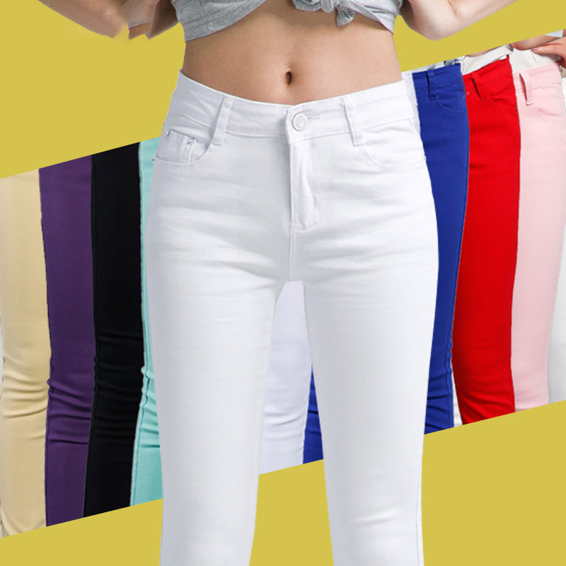 2019 Candy Color Cotton Jeans For Women Denim Pencil Jeans Pants Ladies Trousers Denim Skinny White Women's Stretch Jeans Female