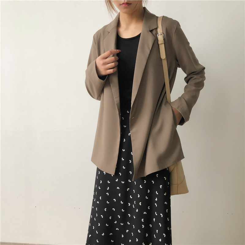 2020 new spring and autumn season new women's jacket office mid-length suit Casual solid color loose ladies blazer