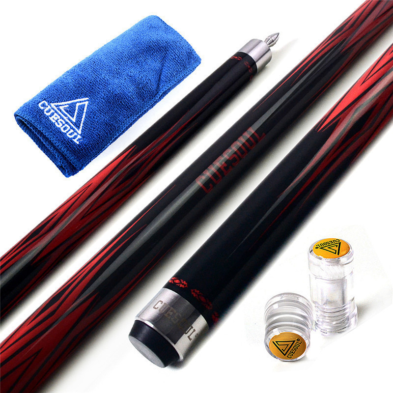 CUESOUL 147cm 11.5/12.75mm 58 19oz Cue Tip Maple Snooker Pool Cue Stick Set