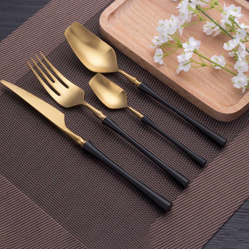 Talheres de aço inoxidável conjunto de louça de ouro conjunto comida ocidental talheres talheres presente de natal garfo colher facas transporte da gota