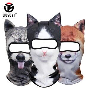Image 1 - מצחיק 3D אוזני בעלי החיים גרב גולגולת בימס לנשימה חתול כלב פנדה שועל האסקי מלא מגן כובע כובע גברים נשים פנים מסכת משמר